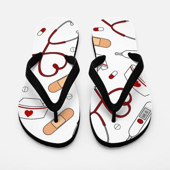 Cute Nurse Love Pattern White Flip Flops