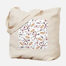 Cute Nurse Love Pattern White Tote Bag