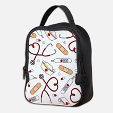 Cute Nurse Love Pattern White Neoprene Lunch Bag