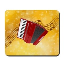 Red Accordion and Musical Notes Mousepad