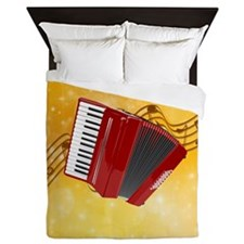 Red Accordion and Musical Notes Queen Duvet