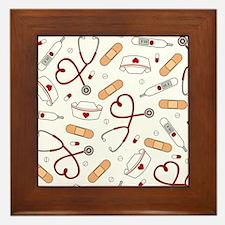 Cute Nurse Love Pattern White Framed Tile