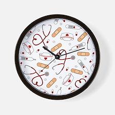 Cute Nurse Love Pattern White Wall Clock