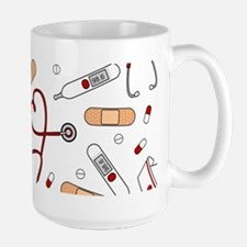 Cute Nurse Love Pattern White Mugs