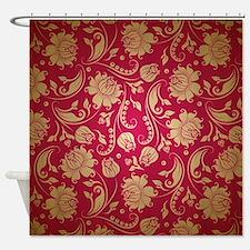 Burgundy Gold Shower Curtains Burgundy Gold Fabric Shower