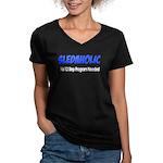 Sledaholic Women's V-Neck Dark T-Shirt