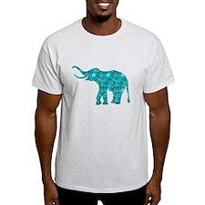 Blue-Green Retro Floral Elephant T-Shirt