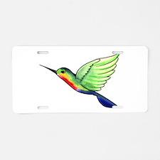 Cheerful Hummingbird Aluminum License Plate