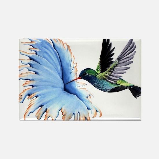 Hummingbird Blue Flower Magnets