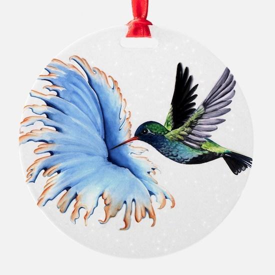 Hummingbird Blue Flower Ornament