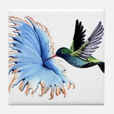 Hummingbird Blue Flower Tile Coaster