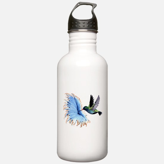 Hummingbird Blue Flower Water Bottle