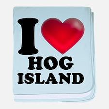 I Heart Hog Island baby blanket