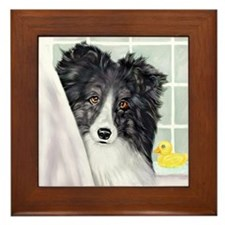 Bi Black Sheltie Bath Framed Tile