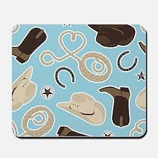 Cute Cowboy Theme Pattern Blue Mousepad