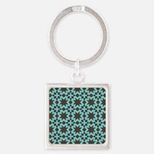 Spring Summer Mod Abstract Floral Square Keychain