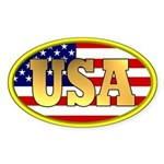 Patriotic USA Oval Sticker