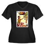 001A©.jpg Women's Plus Size V-Neck Dark T-Shirt