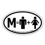 Marriage Equals One Man and One Woman Oval Sticker