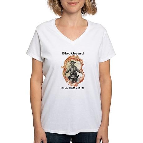 Blackbeard Pirate Women's V-Neck T-Shirt