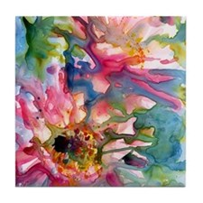 Cute Floral art painting pink Tile Coaster