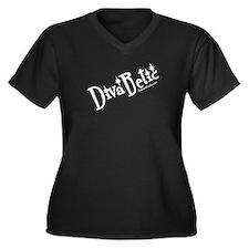 DivaBetic Women's Plus Size V-Neck Dark T-Shirt