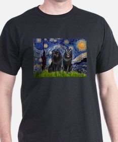 Starry Night & Schipperke T-Shirt