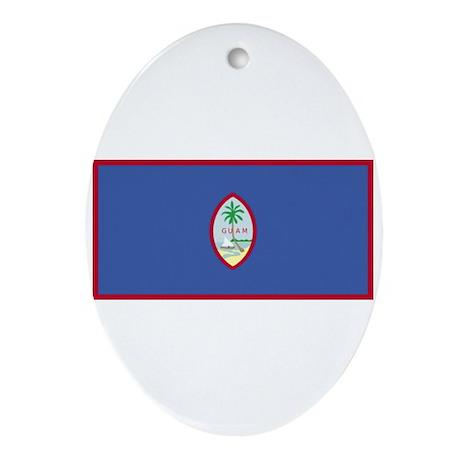 guam flag Oval Ornament