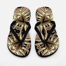 Art Deco Black Gold Hearts Flip Flops
