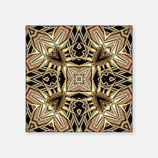 """Art Deco Black Gold Hearts Square Sticker 3"""" x 3"""""""
