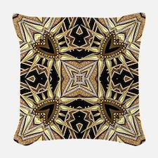 Art Deco Black Gold Hearts Woven Throw Pillow
