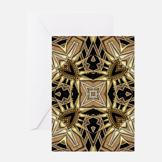 Art Deco Black Gold Hearts Greeting Cards