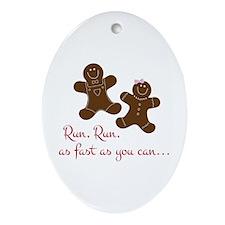 Fast Gingerbread Man Ornament (Oval)