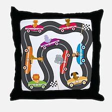 Race Day Racing Cars Throw Pillow