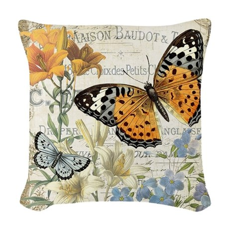 Modern Vintage Pillows : modern vintage butterfly Woven Throw Pillow by DesignsbyHeatherMyers1