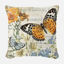 modern vintage butterfly Woven Throw Pillow