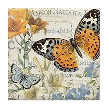 modern vintage butterfly Tile Coaster