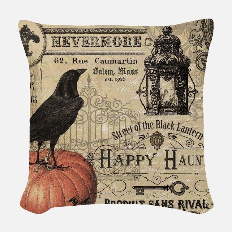 modern vintage halloween woven throw pillow - Halloween Pillows