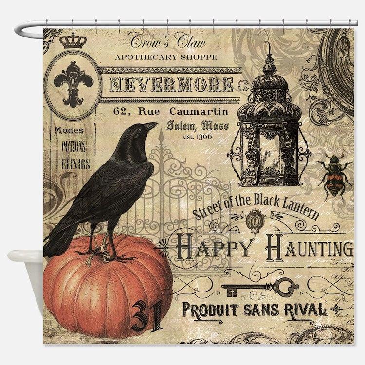 Modern vintage Halloween Shower Curtain. Halloween Bathroom Accessories   Decor   CafePress