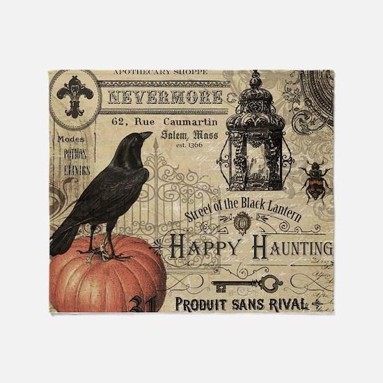 Modern vintage Halloween Throw Blanket