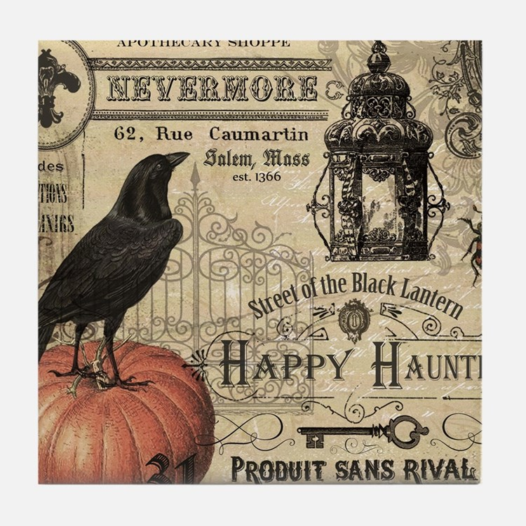 Modern vintage Halloween Tile Coaster