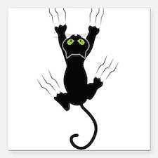 "Cat Scratching Square Car Magnet 3"" x 3"""