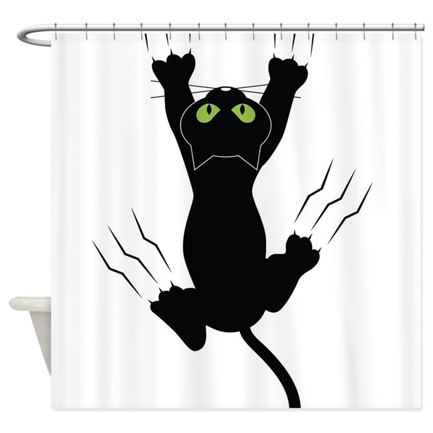 Cat Scratching Shower Curtain By FloriDesigns