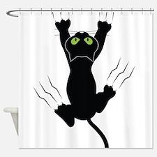 Cat Scratching Shower Curtain