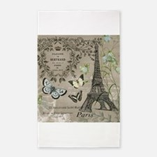 Vintage French Eiffel Tower 3'x5' Area Rug