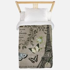 Vintage French Eiffel Tower Twin Duvet