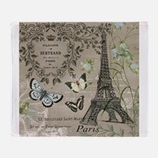 Vintage French Eiffel Tower Throw Blanket