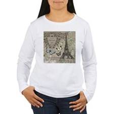 Vintage French Eiffel Tower Long Sleeve T-Shirt