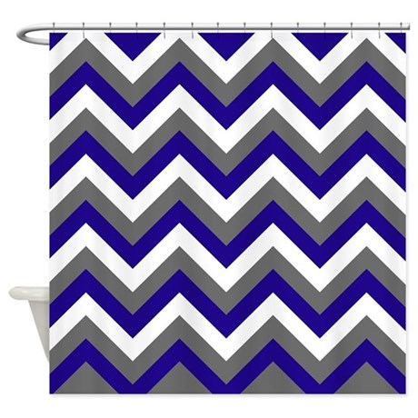 Navy And Gray Chevrons Shower Curtain By Erics Designz