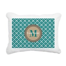 Teal Seamless Pattern Mo Rectangular Canvas Pillow